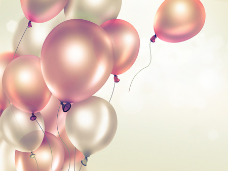 birthdays: Festive light background with orange balloons full screen