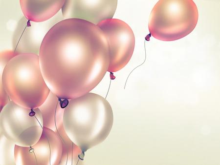 globos de cumpleaños: Fondo claro festivo con globos anaranjados pantalla completa