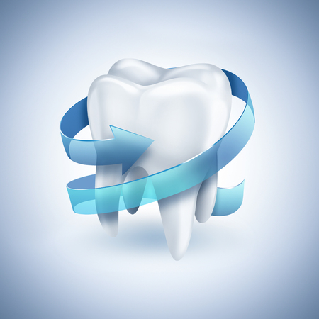 carious: healthy white tooth with blue arrow on light background