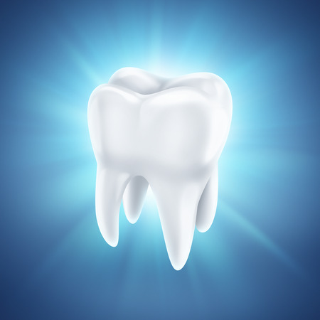 healthy white tooth on a shining blue background