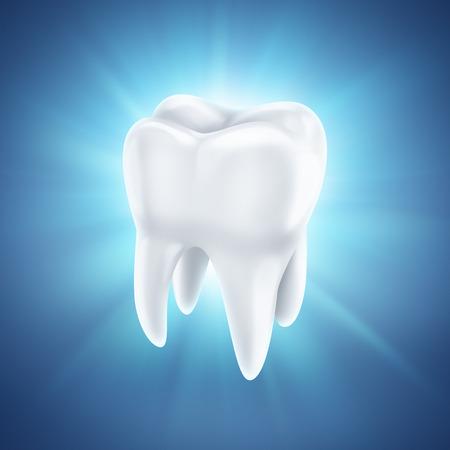 muela: diente blanco sano en un fondo azul brillante Foto de archivo