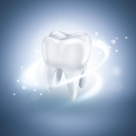 odontologia: brillando diente blanco sobre fondo azul claro
