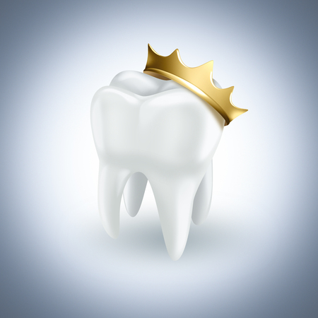 crown of light: tooth with gold crown on light background