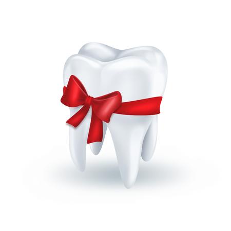 zub s červenou mašlí na bílém pozadí