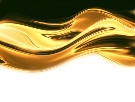 白い背景の上の液体の金の波