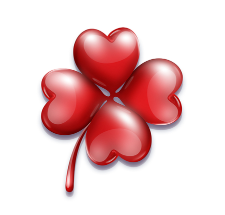 four-leaf clover with a heart-shaped leaves