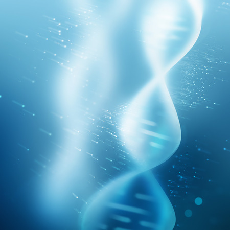 biological: abstract blue background with glowing DNA strand