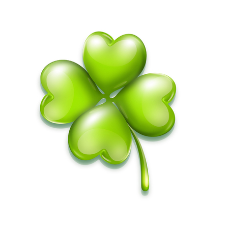 irish culture: bright leaf clover on white background with soft shadow