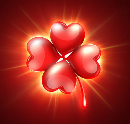 clover shape: romantic card with shining clover with petals in the shape of heart Stock Photo