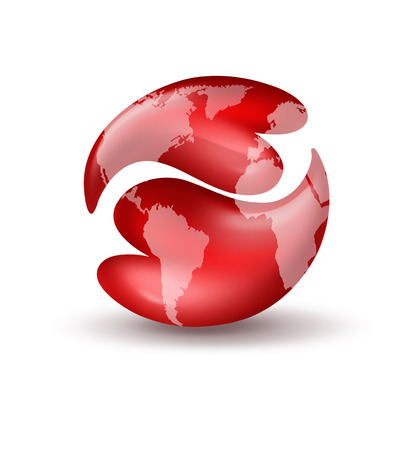 yin: two red hearts in the shape of a yin yang symbol with world map Stock Photo