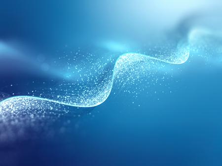 光る DNA 鎖と青い背景