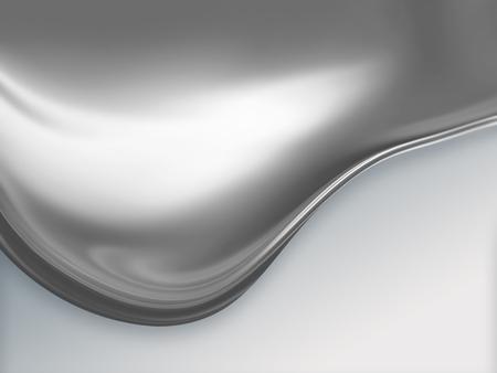 白い背景の上の溶融金属の大きな波 写真素材