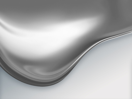 big wave of molten metal on white background