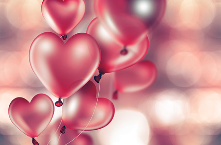 red balloons: romantic card with red heart-shaped balloons