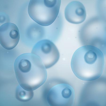 biologia: ciencia fondo azul con células Foto de archivo