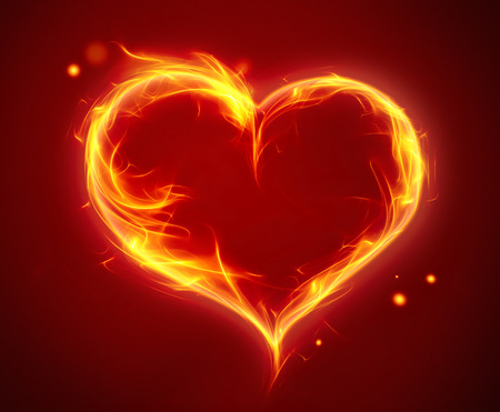 fiery: bright fiery heart on a red background Stock Photo