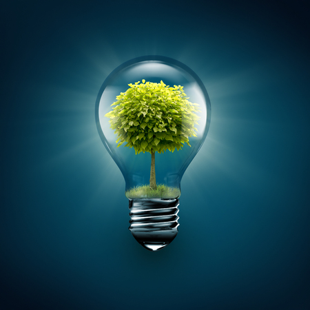 green energy resources: light bulb with tree inside on a blue background