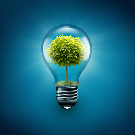 global environment: light bulb with tree inside on a blue background