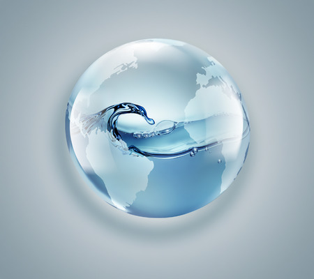 world globe with clean water inside on a light background