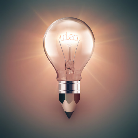 invent: Concept image of idea with light bulb and pencil