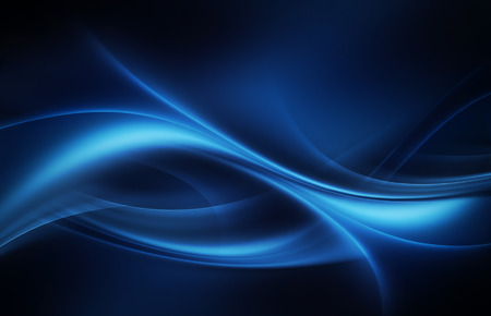 Abstract dark background with glowing blue wavy lines Фото со стока