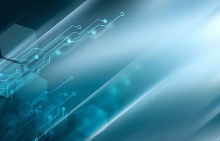 ブルーの色調で抽象的なハイテク背景 写真素材