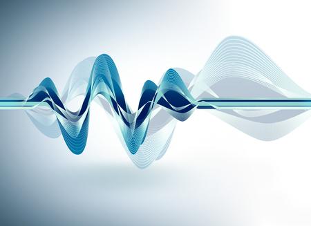 dynamique vague numérique bleu sur un fond clair Banque d'images