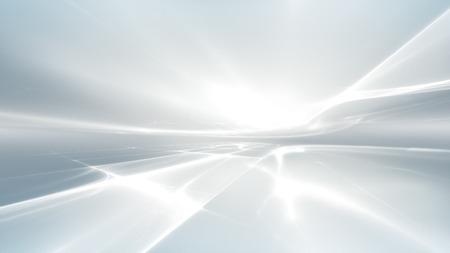 프랙탈 수평선과 추상 흰색 미래의 배경