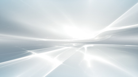 horizon reflection: abstract white futuristic background with fractal horizon Stock Photo