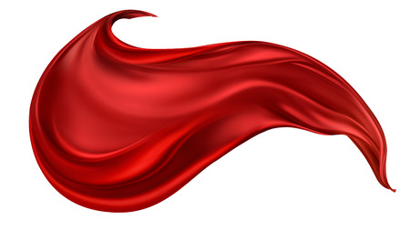 dynamic movement: flying red silk fabric on light background