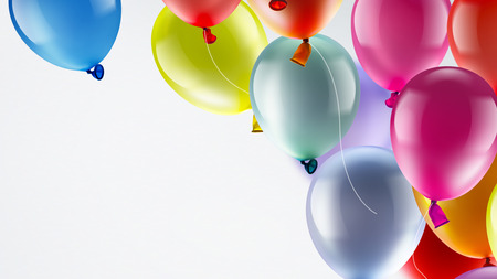 ballons: light festive background with bright colorful balloons Stock Photo