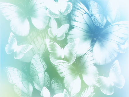 blue and green: abstract light blue and green background with white butterflies
