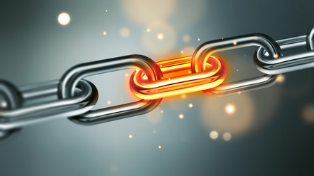 Metal chain with glowing element and sparks close-up full screen. The conflict in business concept image. Stressful situation concept image