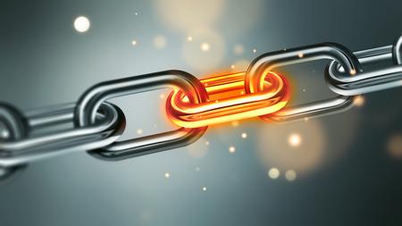 Metalen ketting met gloeiende element en vonken close-up full screen. Het conflict business concept afbeelding in. concept afbeelding stressvolle situatie