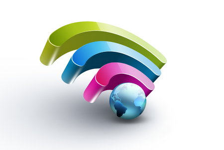 wifi: Bright colorful symbol of Wi Fi with blue world on white background, realistic 3D image