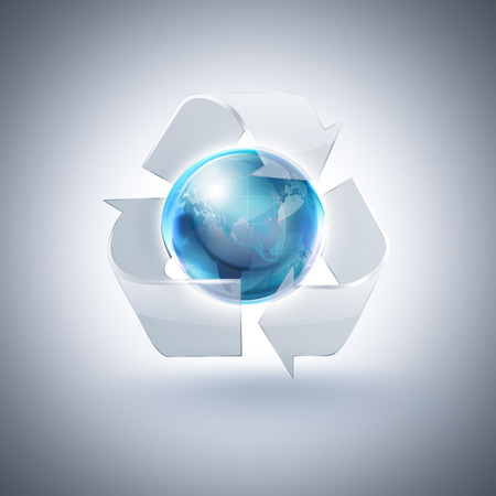 glass recycling: glass recycling symbol with blue world on light background