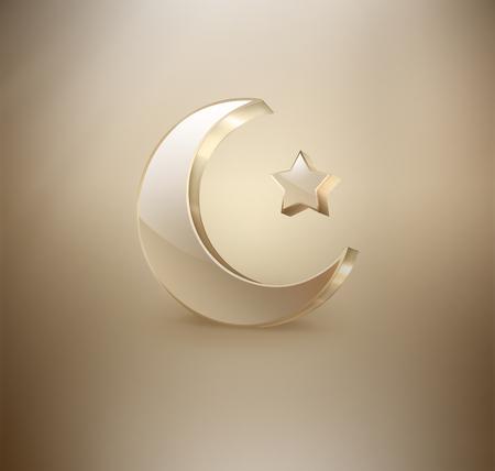 religious celebration: Golden Islamic crescent and star on light background, Ramadan Kareem design