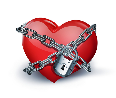 imprisoned: red heart in chains close-up on white background