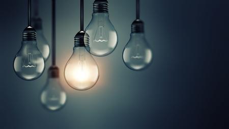 idea bulb: Illuminating light bulb in the dark, idea concept, realistic 3D image