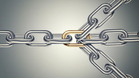 linkage: Chains are connected by golden link on a light background, connected group concept image, leadership concept, teamwork concept 3D design