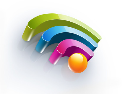 wi fi: Bright colorful symbol of Wi Fi with soft shadow on white background, realistic 3D image