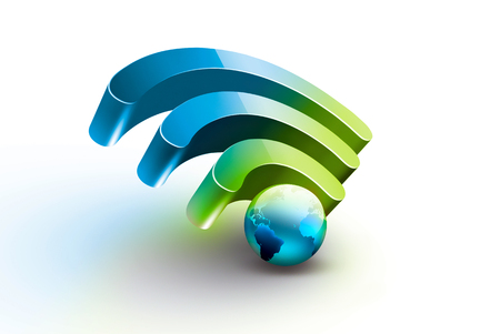 Bright symbol of Wi Fi with blue world on white background, realistic 3D image