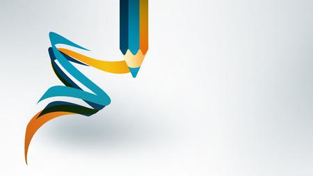 lapiz: diseño de la escuela con el lápiz y abstractas líneas de color sobre fondo claro, imagen del tema de la escuela de nuevo a Foto de archivo