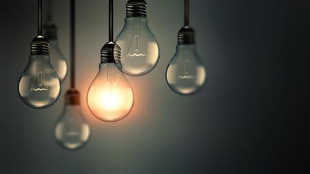 illuminating: Illuminating light bulb in the dark, idea concept, realistic 3D image