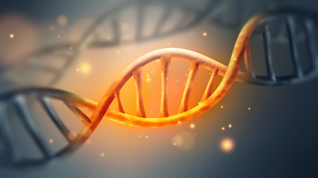 glowing DNA strand with sparks close-up full screen Imagens