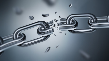 frail: Breaking metal chain, concept of freedom image, 3D realistic design