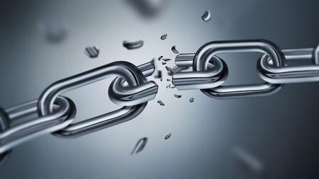 cadena rota: Romper la cadena del metal, imagen del concepto de la libertad, diseño realista 3D