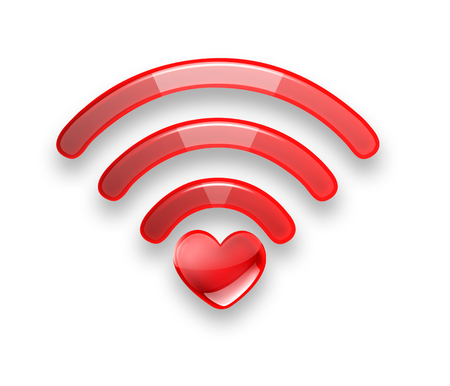 wi fi: Red symbol of the free Wi fi with a heart on a white background