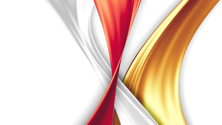 ribbon background: yellow, white and red silk ribbons on a white background Stock Photo