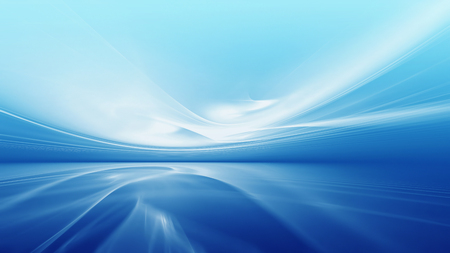 horizon reflection: Abstract futuristic background with fractal horizon in sky blue tones
